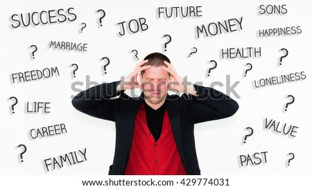 close up of caucasian angry businessman with hands in his hair isolated on white with words  - stock photo