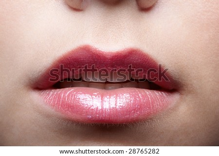 close up of causasian girl's mouth zone - stock photo