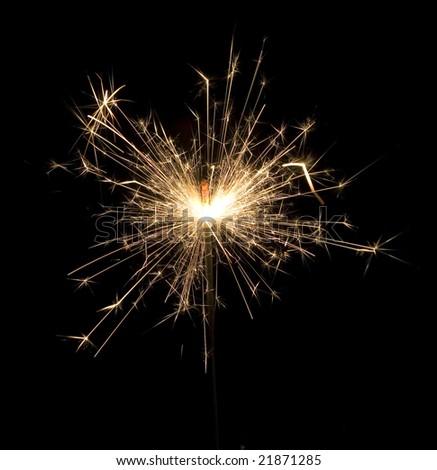 close up of celebration sparkle lights at nighttime - stock photo