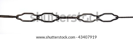 close up of chain on white background with clipping path - stock photo