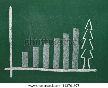 close up of chalkboard with finance business graph and christmas tree - stock photo