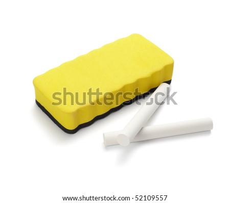 close up of chalks and eraser on white background with clipping path - stock photo