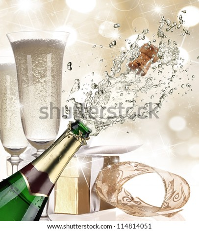 Close-up of champagne explosion - stock photo