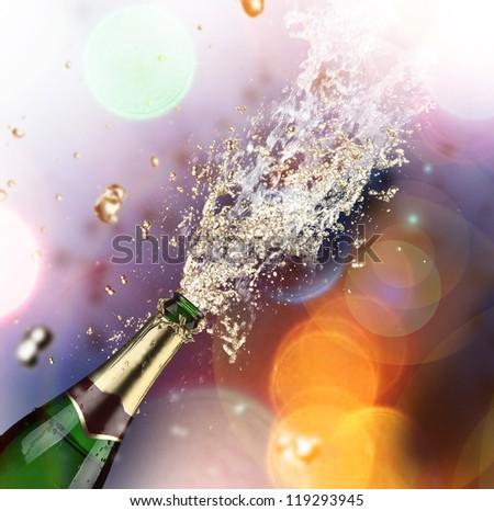 Close-up of champagne explosion. Celebration theme. - stock photo