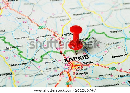 Close up of  Charkov ,Ukraine , map with red pin - stock photo