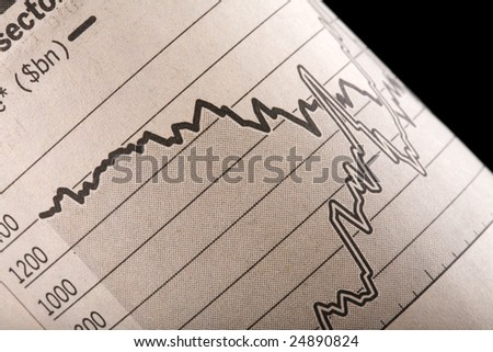 Close-up of chart section of a rolled up financial newspaper page. Selective focus, with graph disappearing into black background. - stock photo