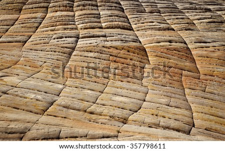 Close-up of Checkerboard Mesa. Lithified desert sand dune deposits of the Navajo Sandstone formation, Zion National Park, Utah, USA - stock photo