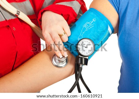 Close up of checking blood pressure of woman