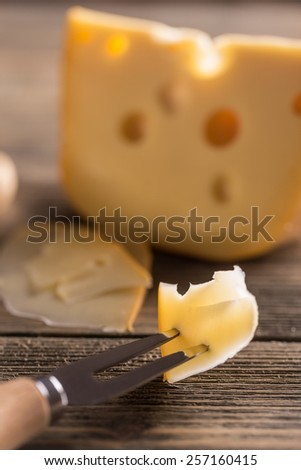 Close up of cheese with fork