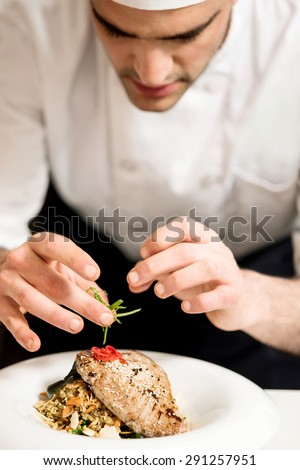 Close up of chef decorating fish food in kitchen - stock photo