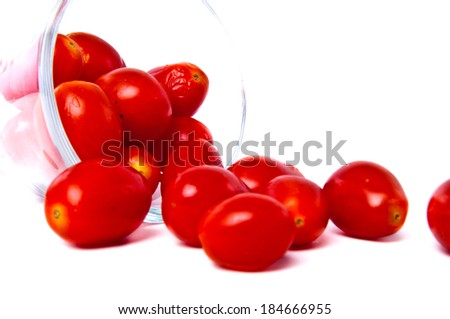 Close up of Cherry tomatoes with glassware glasses cup isolated in white background.