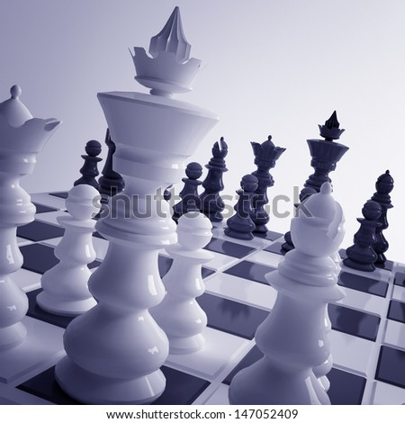 Close up of chess game with figures - stock photo
