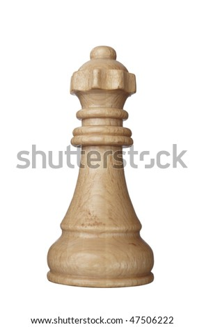 close up of chess queen piece on white background with clipping path - stock photo