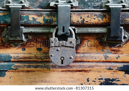 close up of chest lock - stock photo