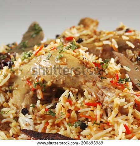 Close up of Chicken Biryani, India - stock photo