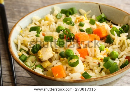 Close up of chicken fried rice, selective focus - stock photo