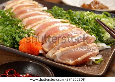 Close up of chicken sashimi - stock photo