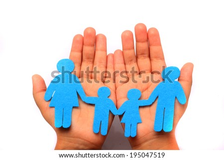 close up of child cupped hands showing cotton family - stock photo