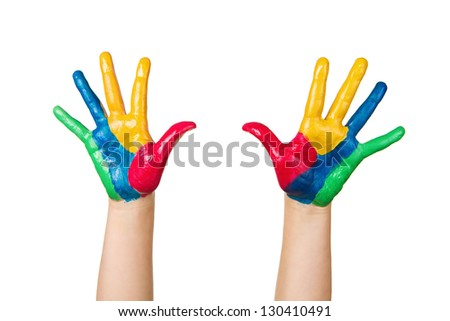 Close up of child hands painted with colorful paint isolated on white background - stock photo