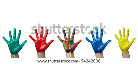 close up of child  hands painted with watercolors on white background. each one is in full camera resolution - stock photo