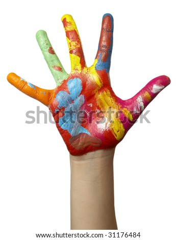 close up of child  hands painted with watercolors, on white background with clipping path - stock photo