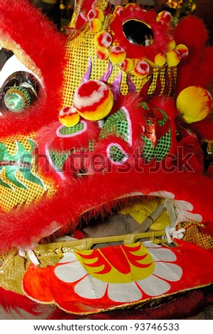 Close up of Chinese lion dance head.