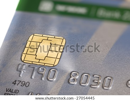 Close up of chip on credit card. Shallow DOF. - stock photo