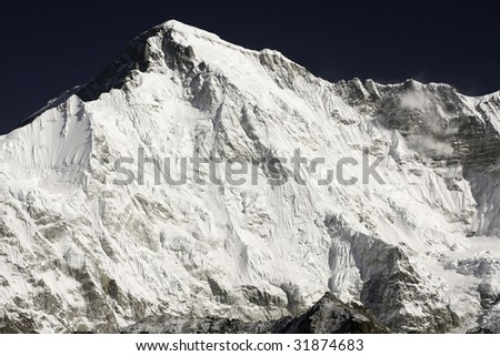 Close up of Cho Oyu south face (8202m.), Himalayas, Nepal. Great details! - stock photo