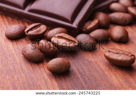 close up of chocolate and coffee beans - stock photo