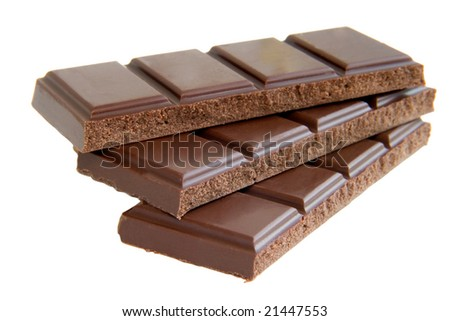 close up of chocolate bar on white background with clipping path - stock photo