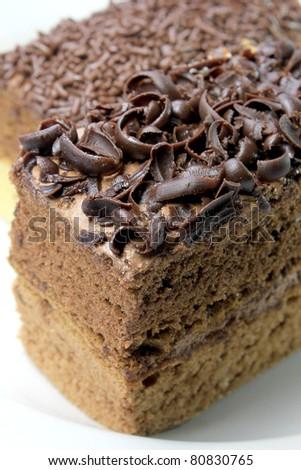 close-up of chocolate cake - stock photo