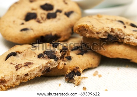 Close-up of chocolate chip cookies - stock photo