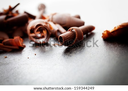 Close up of chocolate curls, used for cade decoration - stock photo