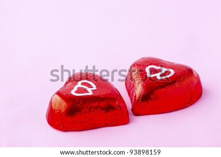 Close-up of chocolate hearts for Valentine's Day - stock photo