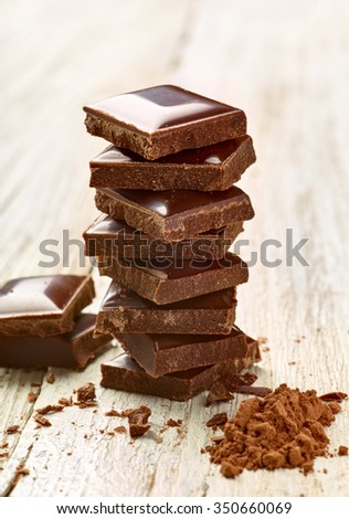 close up of chocolate pieces on  wooden background