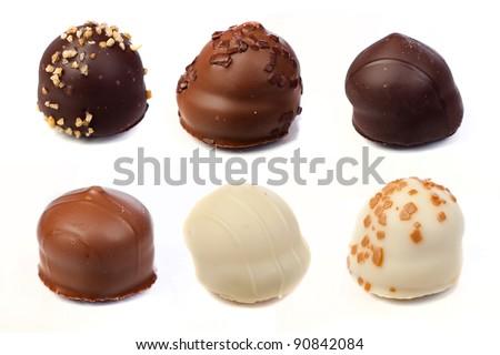 Close up of chocolate pralines - stock photo