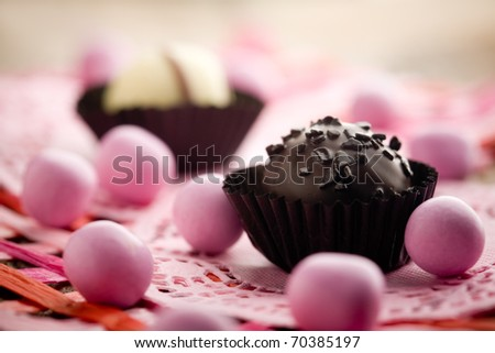 Close up of chocolate pralines with shallow focus