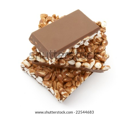 close up of chocolate with puffed rice bar on white background, with clipping path - stock photo