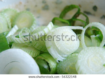 close up of chopped spring onions