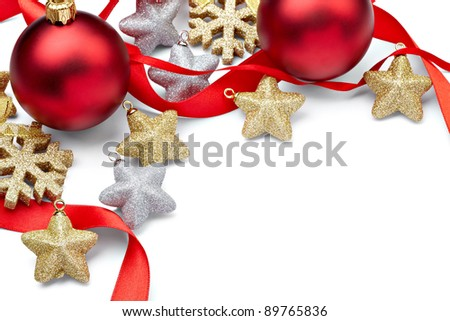 close up of  christmas decoration on white background with clipping path - stock photo