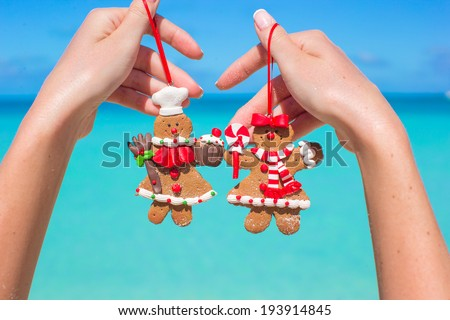Close up of christmas gingerbread cookies in hands against the turquoise sea - stock photo