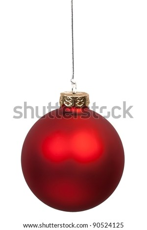 close up of christmas red ball hanging on white background - stock photo