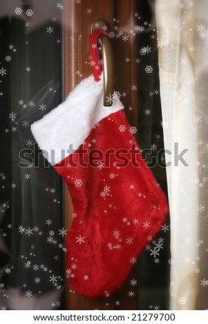 Close-up of christmas red socks