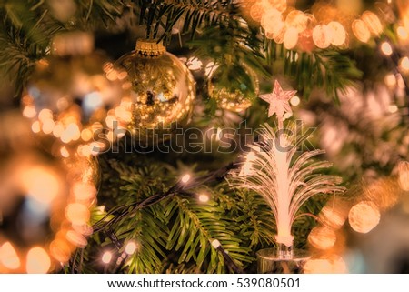 close up of christmas tree ornament balls decoration