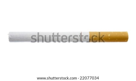 close up of cigarette on white background with clipping path