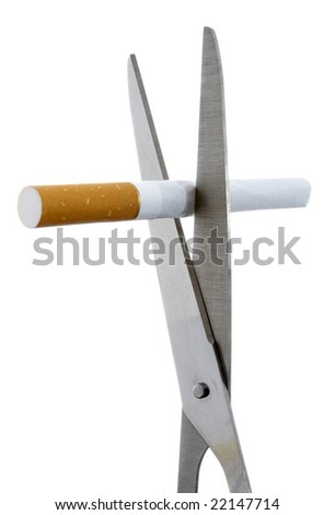 close up of cigarette on white background with clipping path - stock photo