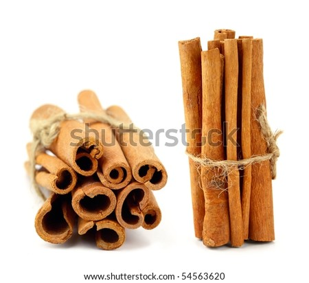 close-up of cinnamon sticks - stock photo