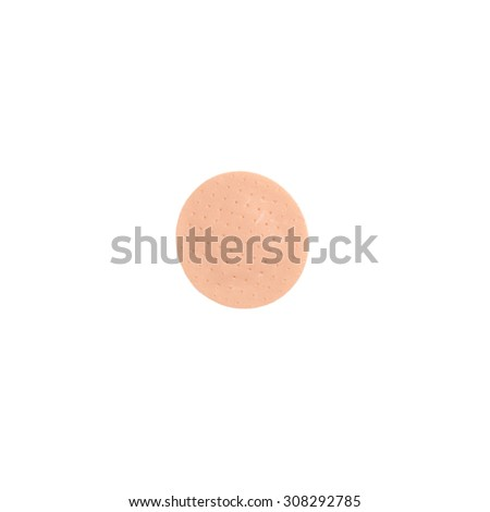 close up of circle medical patch isolated on white background - stock photo