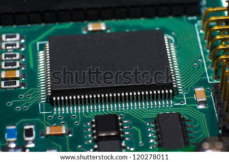 Close up of circuit board with CPU - stock photo