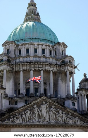Close-up of City Hall in Belfast, with British flag - stock photo